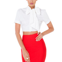 Gift Of Love White Bow Crop Top