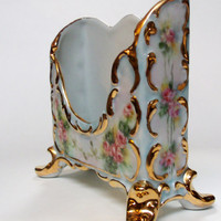 Antique French Limoges Pink Roses Letter Holder