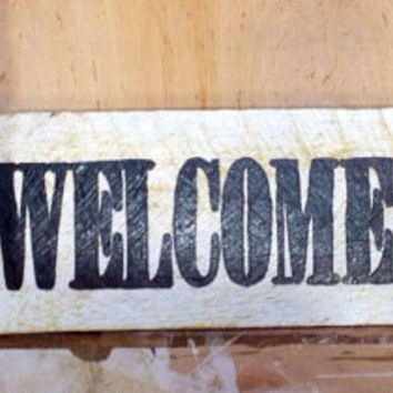 STL welcome sign with stl logo and baseball stitching. Stl decor. Front door sign