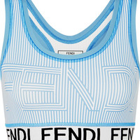 Fendi - Striped stretch sports bra