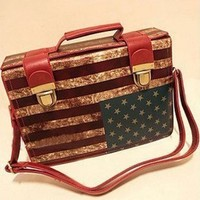 New Retro Vintage USA Flag Medicine Chest Bag Women's Handbag Fashion All-match Doctor Bag Cross-body Handbag American Flag