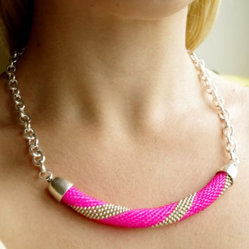 Neon pink statement necklace -  Modern trend chic beaded rope necklace -  Huge summer crochet cord necklace.