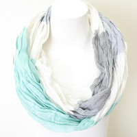 Colorblock Infinity Scarf (Mint)