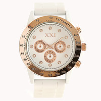 FOREVER 21 Rubber Chronograph Watch White/Light Rose One