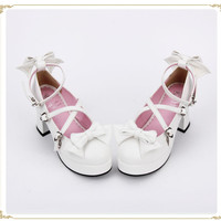 Sweet White Bows High Platform Lolita Heels Shoes