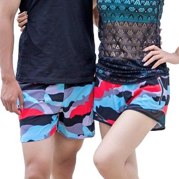 H.S.F.Q Brand New 2018 Summer Sports Shorts Women Camouflage Printed Holiday Boardshorts Couple Quick Drying Track Pants