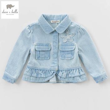 DBK0582 davebella spring baby girl light  denim coat ruffles outerwear kids fancy beautiful clothes