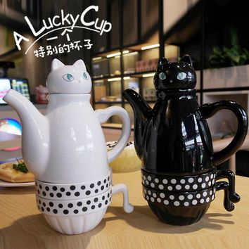 OUSSIRRO Imported Ceramic Teapot And Teacup Set Cat Simple Tea Set Stainless Steel Filter L2083