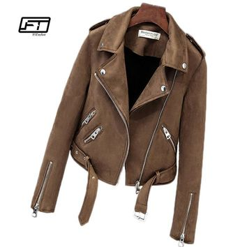 Fitaylor New Autumn Faux Suede Women's Motorcycle Jacket/Coat