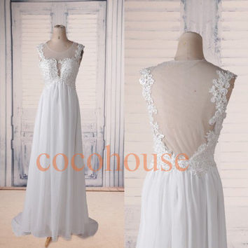 White Lace Applique Beaded Long Prom Dresses, Back See Through Bridesmaid Dresses, Elegant Evening Dresses, Wedding Party Dress, Formal Wear