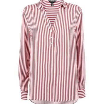 Red Stripe Step Hem Shirt | New Look