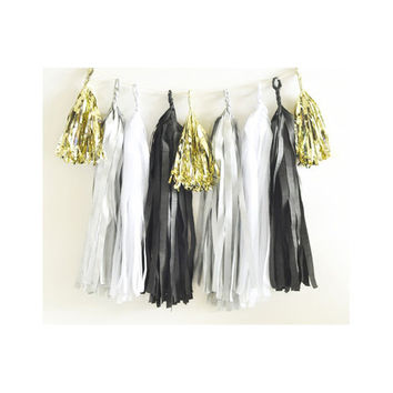 Paper Garland & Metallic Mini Tassels - 20 Tassel DIY Kit - Black White Silver Gold Foil - Wedding Decor Party Bridal Shower Baby Birthday