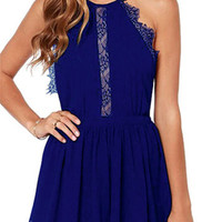 Blue Halter Neck Lace Detail Chiffon Open Back Mini Dress