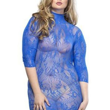 LMFH3W Floral lace high neck mini dress with 3/4 sleeve PLUS SI ROYAL BLUE