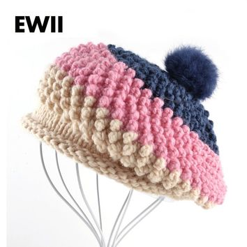 2017 Autumn and winter beret hat for woman knitted wool berets cap girl knit leisure warm hat boina gorro ladies flat cap bone