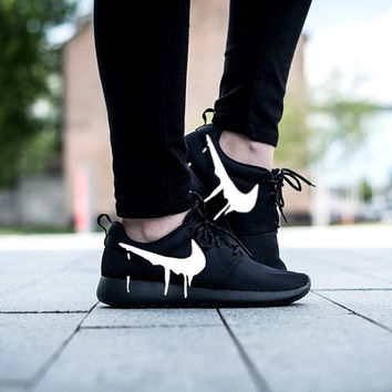 Nike Roshe Run Triple Black with Custom White Candy Drip Swoosh Paint