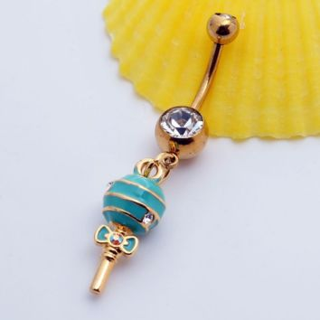 Lovely cute dragee bowknot shape belly button ring antiallergic Navel Belly Ring-0428-Gifts box