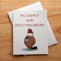 Naughty Christmas Card, Mature Card, Card For Boyfriend, Beaver Card, Card For Husband, Holiday Greeting Card, Gift For Him, Naughty Present