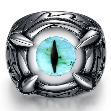Punk cool man Real stainless steel opal Ring Men's big eyes green or blue Finger Rings for man High Quality Tyrael Vintage Ring