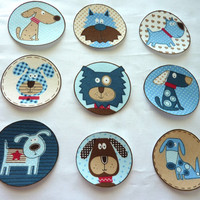 Dog Puppy Fabric Iron On Appliques Baby Shower Bodysuit Tshirt Set of 9