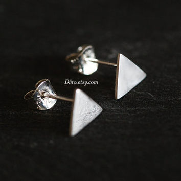 Sterling Silver Triangle Stud Earrings, Geometric Earrings, Shiny, Triangle Studs, Sterling Silver jewelry, Simple Earrings, Ready to Ship!