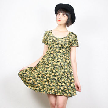 Vintage 90s Dress Babydoll Dress Mini Dress Grunge Dress 1990s Dress Floral Print Dress Yellow Green Black Sunflower Dress XS S Extra Small