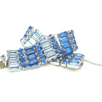 Brilliant Blue Rhinestone Bracelet. Baguettes & Round Chatons. Two Tone, .75 inch Wide, Vintage 1950s Hollywood Regency Glamour Jewelry.