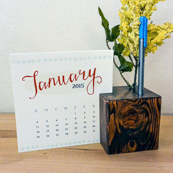 2015 Desk Calendar, Wood Block with Pencil or Pen Holder - hand-stained wood block, pen holder, pencil holder, flower holder, christmas gift