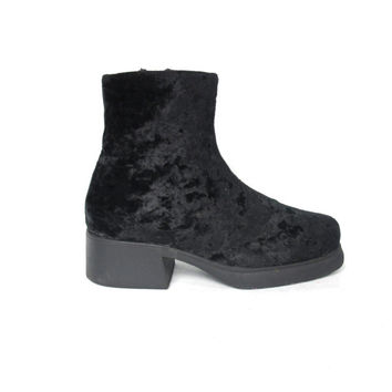 90s Black Crushed Velvet Ankle Boots Platform Chunky Heel Boots Goth Disco Ankle Boots (7)
