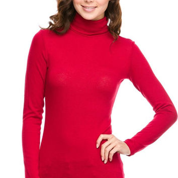 Fitted Long Sleeve Turtle Neck Top