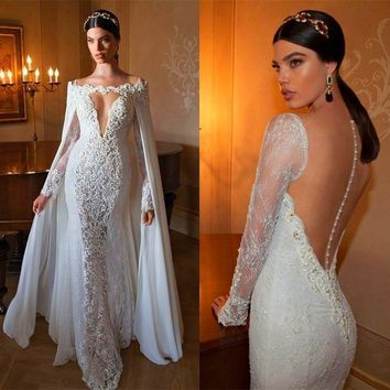 Quality Mermaid Dress with Long Embroidery Beading Custom Made Illusion Lace Mermaid Wedding Dresses