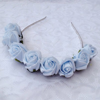 Baby Blue  pastel Rose Bud floral crown headband bridal bride wedding flower