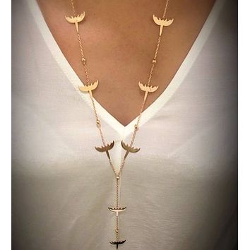 Solid 925 Sterling Silver Bird Plain Long Y Necklace