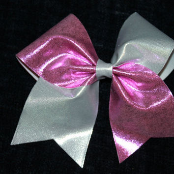 Silver and pink cheer bow
