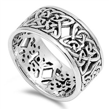 925 Sterling Silver 10MM Quadquetra Patterns Wiccan Ring