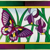 Butterfly Plum Green Border Horizontal Art Glass Panel
