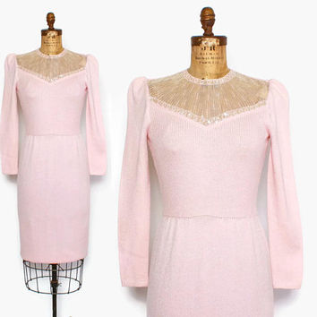 Vintage 70s ST JOHN Knit Dress / 1970s Sequin Beaded Trim Santana Knit Pink Sweater Dress