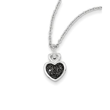 1/20 Ctw Black & White Diamond Small Heart Necklace in Sterling Silver