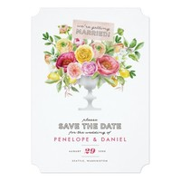 Floral Watercolor Compote Save the Date Card