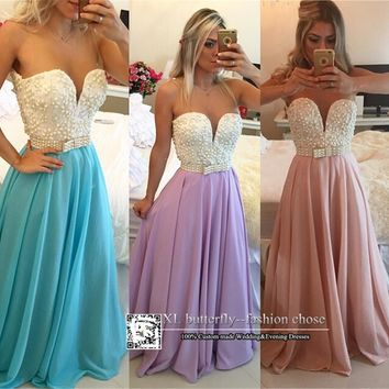 5071 Long lace Pearls Sweatheart Bow Evening Dresses Prom Gown Long Maxi Plus Size 2 4 6 8 10 12 14 16 18 20 22 24 26