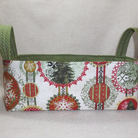 Festive Red and Green Shallow Christmas Fabric Basket With Handles
