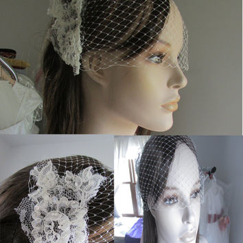 ON SALE Ivory Birdcage Veil and Lace Bridal Fascinator, Vintage Style Birdcage Wedding Veil and Lace Hair Clip - Modarage Veil