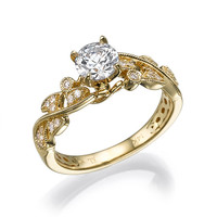 Leaves Engagement Ring Yellow Gold With Unique milgrain and natural conflict free diamonds, Antique ring, Vintage ring, Wedding Ring