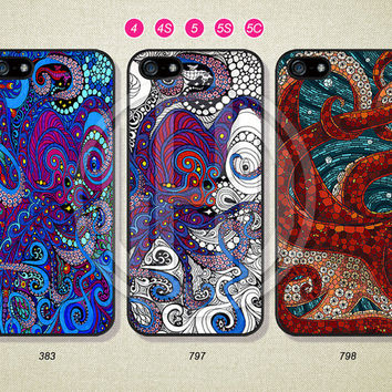 Phone Cases, iPhone 5S Case, iPhone 5 Case, iPhone 5C Case, iPhone 4 case, iPhone 4S case, Mosaic Octopus, Case For iPhone --L06