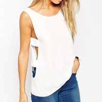 White Cutout Side Sleevelss Shirt