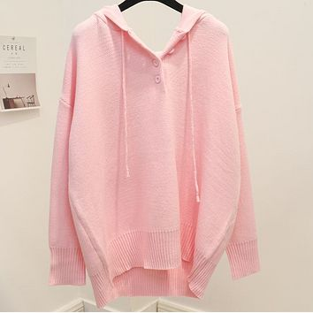 New autumn and winter thick sweet bat-style sweater sweater cap loose woman Pink