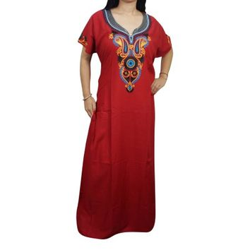Mogul Womens Nightgown Embroidered Kaftan Red Maxi Dress Cotton Cover Up Nightdress Lounger - Walmart.com