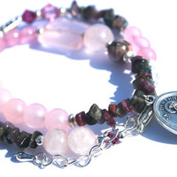 Saint Dymphna - watermelon tourmaline, rose quartz, rhodonite gemstone and crystal double wrap healing bracelet. Soothes Anxiety + Sadness