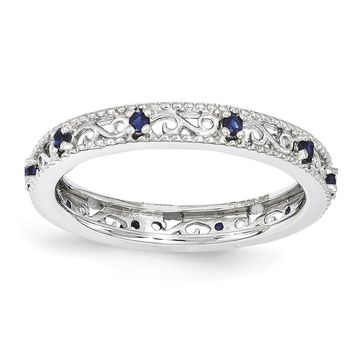 Sterling Silver Stackable Expressions Created Blue Sapphire Filigree Ring