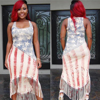 Washed American Flag Print Sleeveless Dress with Tassels